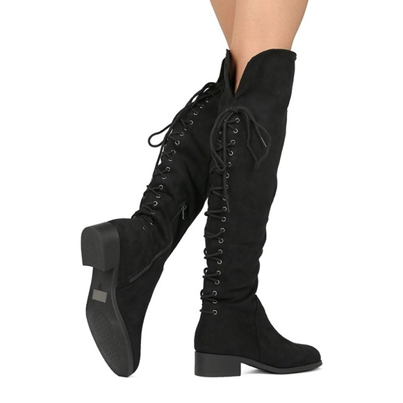 a0a23f275308 Not Rated Back Lace Up Black Over-The-Knee Boots 6.  M 5c677d5dbaebf61026affc80